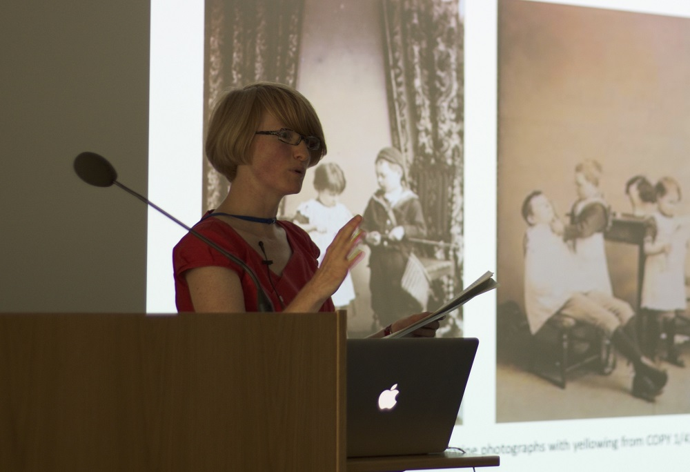 A photo of Jacqueline presenting the work of Collection Care on the Open House weekend.