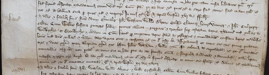 Commission in March 1390 to Geoffrey Chaucer and others to survey walls and ditches on the Thames between Woolwich and Greenwich [catalogue reference: E 371/149, m. 30]