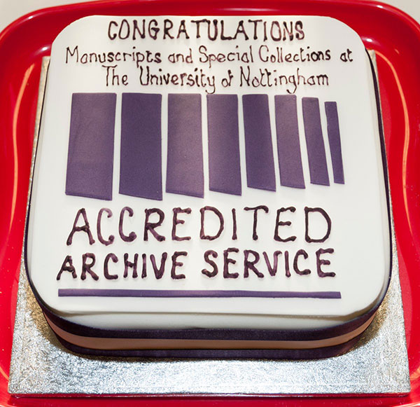 Accreditation celebration cake, courtesy of Manuscripts and Special Collections, The University of Nottingham