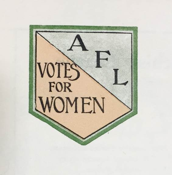 Image of Actresses' Franchise League logo, from a document on Suffrage disturbances. Catalogue Reference: HO 45/10695/231366