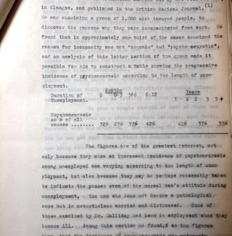 Figures from the The Pilgrim Trust Enquiry into long term unemployment, 1936-1938, examining instances of 'pyscho-neurosis' in long term unemployed people. Catalogye reference: AST 7/255