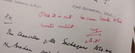 """""""Once it is out he can bark to his heart's content"""" - Winston Churchill's minute on whether Beveridge should be allowed to speak on his report. Catalogue reference: PREM 4/89/2"""