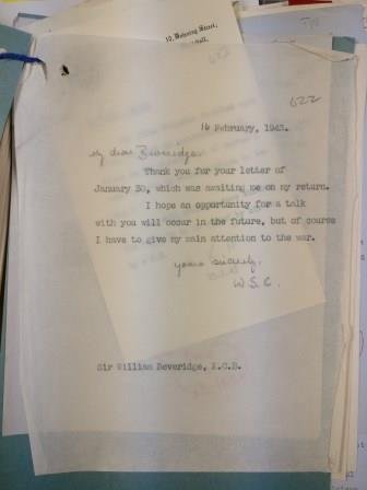 Winston Churchill declines Beveridge's request for a meeting, 16 February 1943. Catalogue reference: PREM 4/89/2