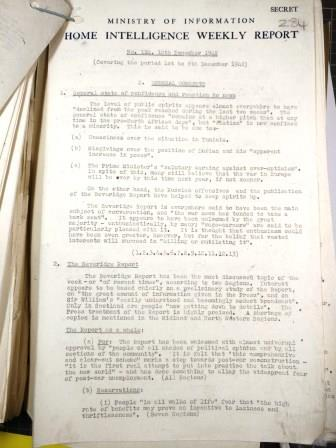 Ministry of Information Home Intelligence Report, 10 December 1942. Catalogue reference: INF 1/292