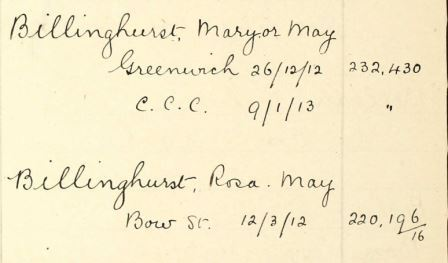HO 45/24665 the entries for Rosa May Billinghurst in the Home Office's Index of Suffragettes Arrested