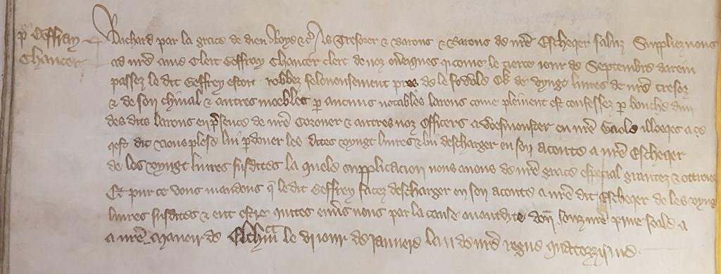 Writ enrolled in Exchequer memoranda roll in January 1391, discharging Chaucer from the repayment of £20, stolen by thieves near 'Le Fowle O[a]k' in the previous September [catalogue reference: E 159/167]