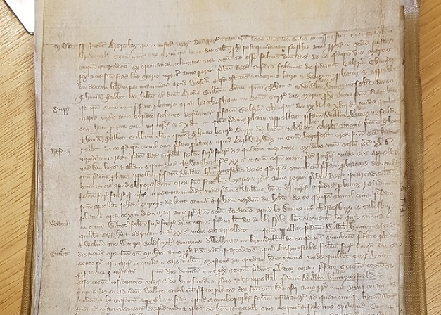 Confession of Richard Brierly April 1391 of having (with other) robbed Chaucer in the previous year [catalogue reference: KB 29/37 rot. 22d]
