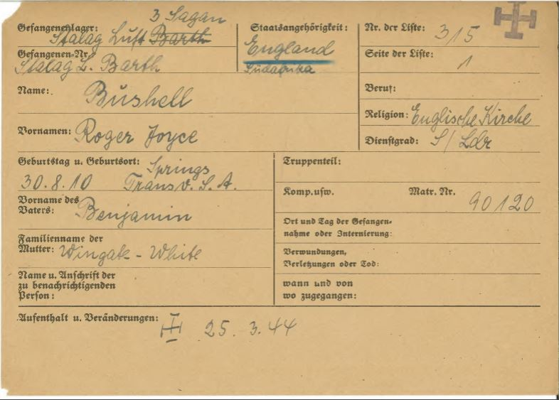 WO 416/47/197: Prisoner of War card for Roger Joyce Bushell. The black cross signifies death.