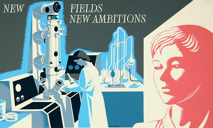 NSC 25/238 Artist: Eric Fraser.New fields, new ambitions: girl in laboratory.