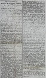 An article from the Manchester Observer newspaper, 1819, from female reformers advocating for parliamentary reform. Catalogue reference HO 42/190 folio 11