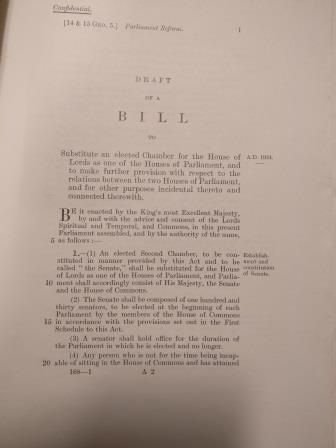 A dropped Parliamentary Bill to replace the House of Lords with an elected Senate, 1924. Catalogue reference: AM 4/28