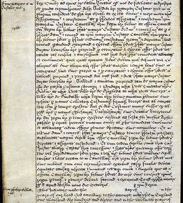 TNA, C 66/2932, m. 17 (http://discovery.nationalarchives.gov.uk/details/r/C397636) 9 October 1660 Enrolled official copy of letter patent appointing Sir Maurice Eustace as Lord Chancellor of Ireland.