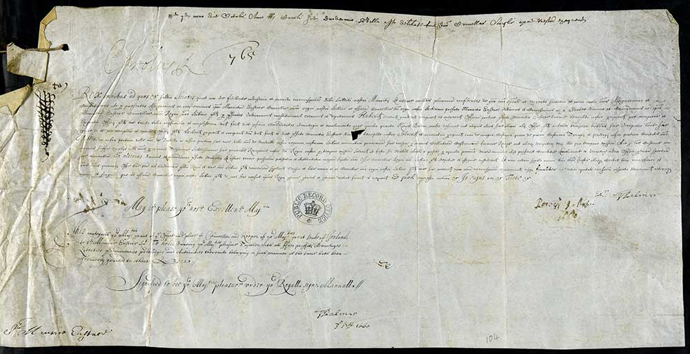 TNA, C 82/2270, f. 104 (http://discovery.nationalarchives.gov.uk/details/r/C1239778) 3 September 1660 Warrant (order) that the Lord Chancellor of England affix the Great Seal to a letter patent signifying the king's pleasure in appointing Sir Maurice Eustace as Lord Chancellor of Ireland