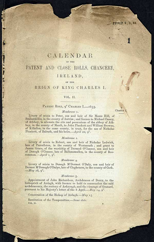 Draft publication of Charles I's patent rolls (1633) dated 9 February 1864