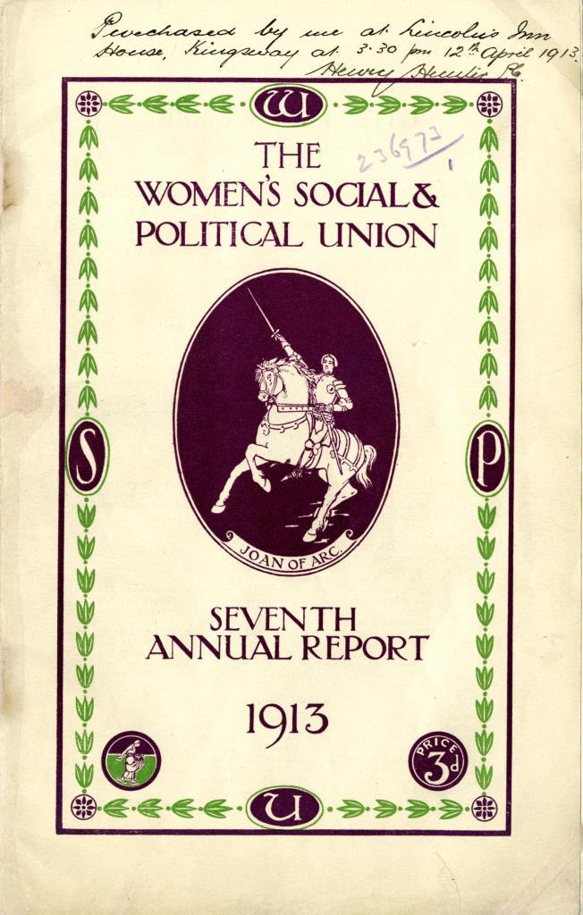 Image of the front cover of the Seventh Annual Report of the Women's Social and Political Union, 1913, as purchased by police from their headquarters at Lincoln's Inn House.