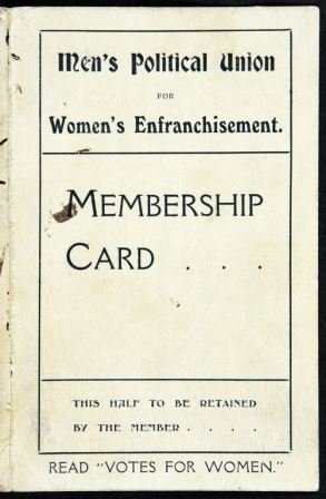 Image of the front of the membership card for the Men's Political Union for Women's Enfranchisement. Reference: CRIM 1/149/3.