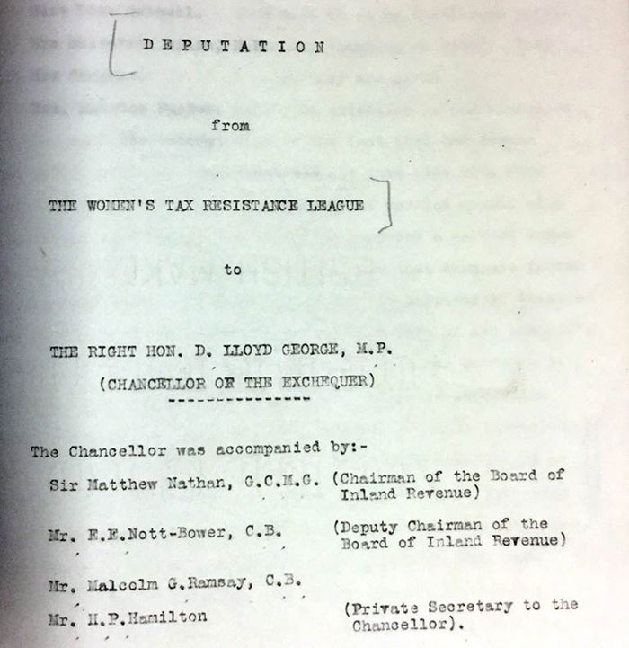 Deputation of the Women's Tax Resistance League to David Lloyd George 1913. Reference: T 172/106