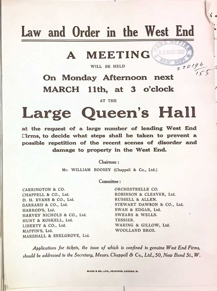 Resolution after 1912 window smashing campaign by prominent buisnesses. Catalogue reference HO 144_1193_220196
