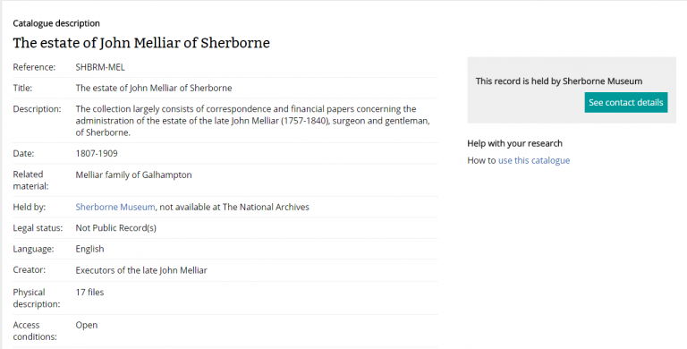 Sherborne Museum's fonds level description in Manage Your Collections
