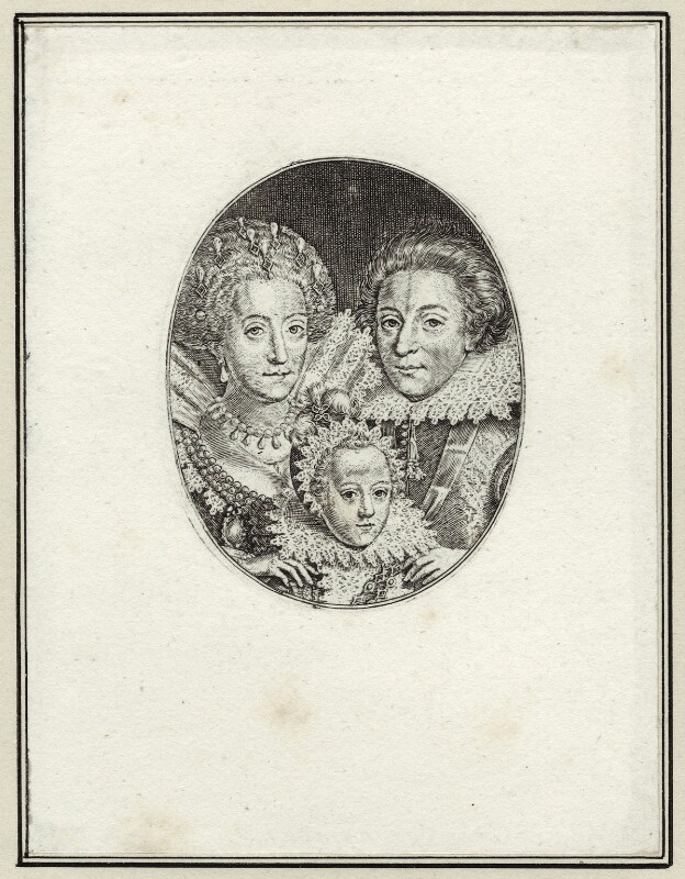 Engraving of the couple and a young child