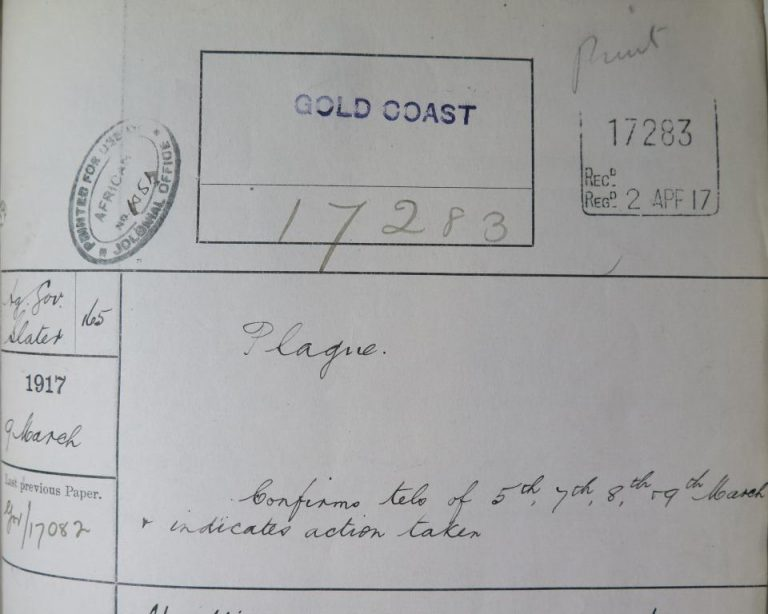 """Colonial Office """"docket"""" or cover, detailing a despatch on a plague outbreak: CO 96/578, Gold Coast despatches, February-March 1917."""