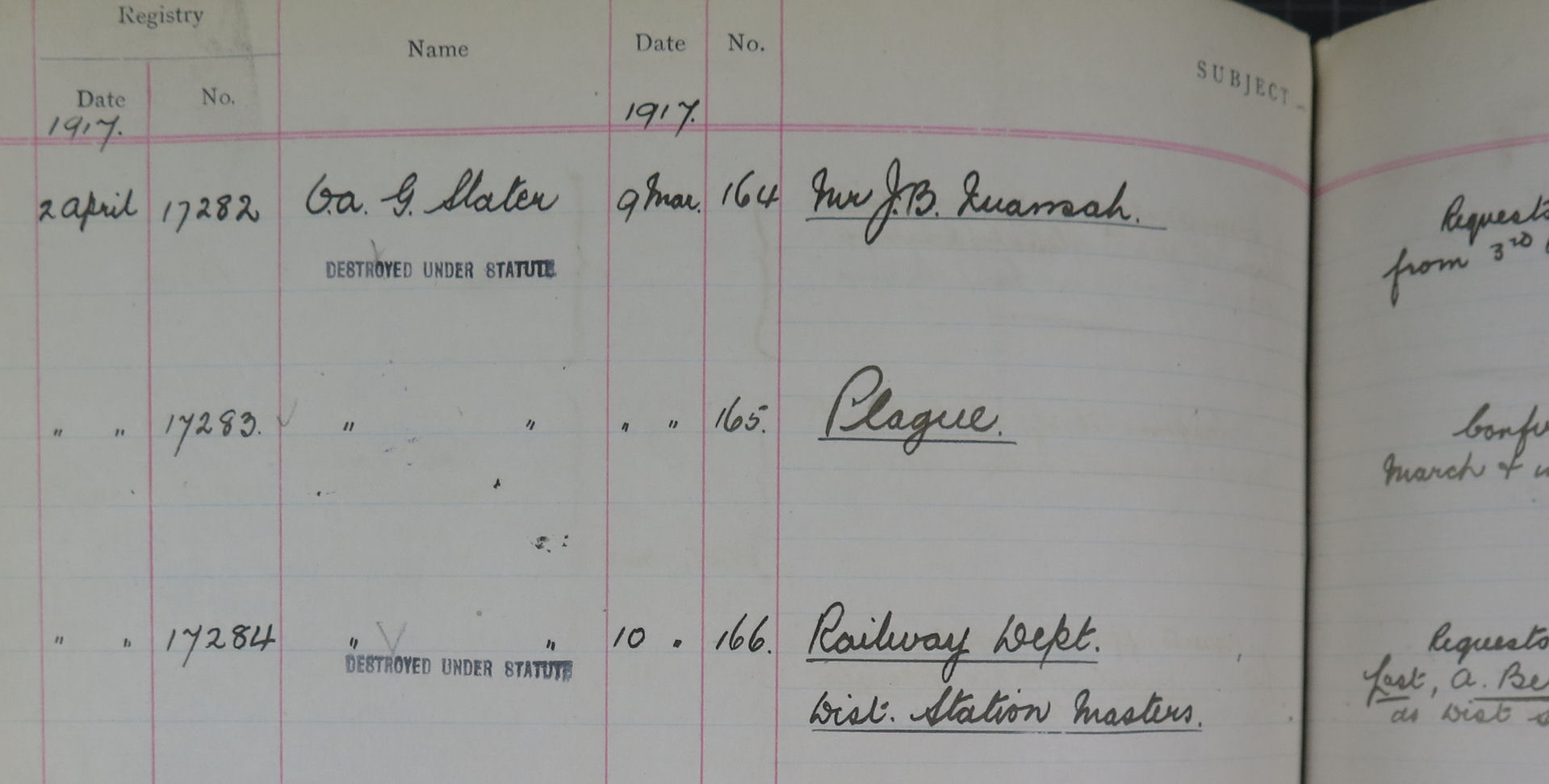 A Colonial Office register of correspondence recording the receipt of a despatch on an outbreak of plague: CO 343/25 Gold Coast Register of Correspondence.