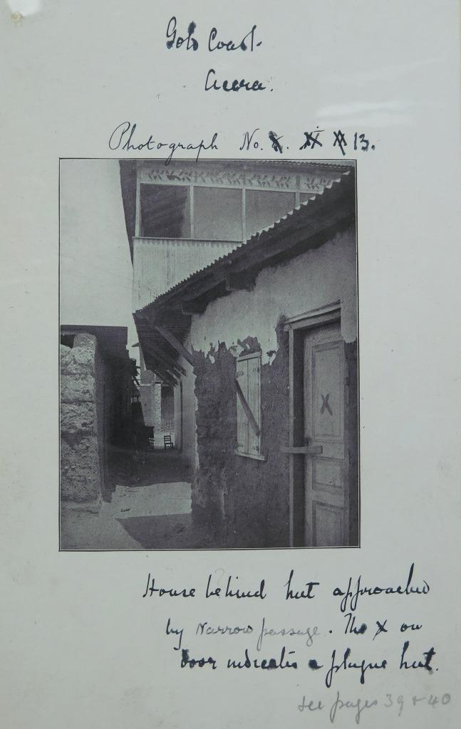 X marks the spot: a house in Accra quarantined during a plague outbreak: CO 1069/45, Colonial Office photographic collection, undated but probably c. 1910.
