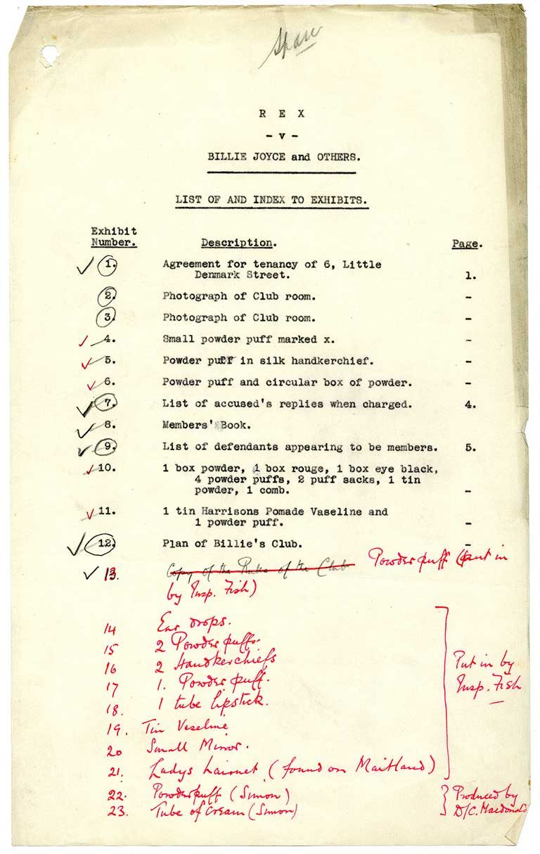 A list of evidence collected by police on the night of the raid. Ronald Simon's name is listed next to exhibits 22 and 23 (catalogue reference: DPP 2/355)
