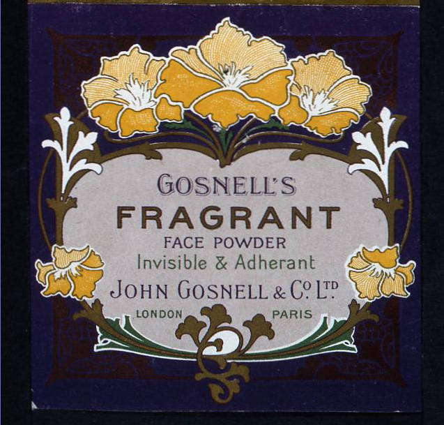 Face powder packaging from The National Archives' image library, dated 1907 (catalogue reference: COPY1/258)