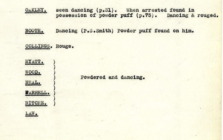 A document summarising the evidence against the members of Billie's club (catalogue reference: DPP 2/355)