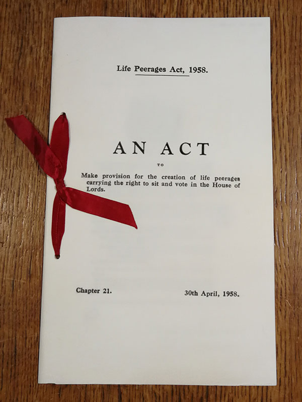 Life Peerages Act, 1958. Catalogue ref: C 65-6747