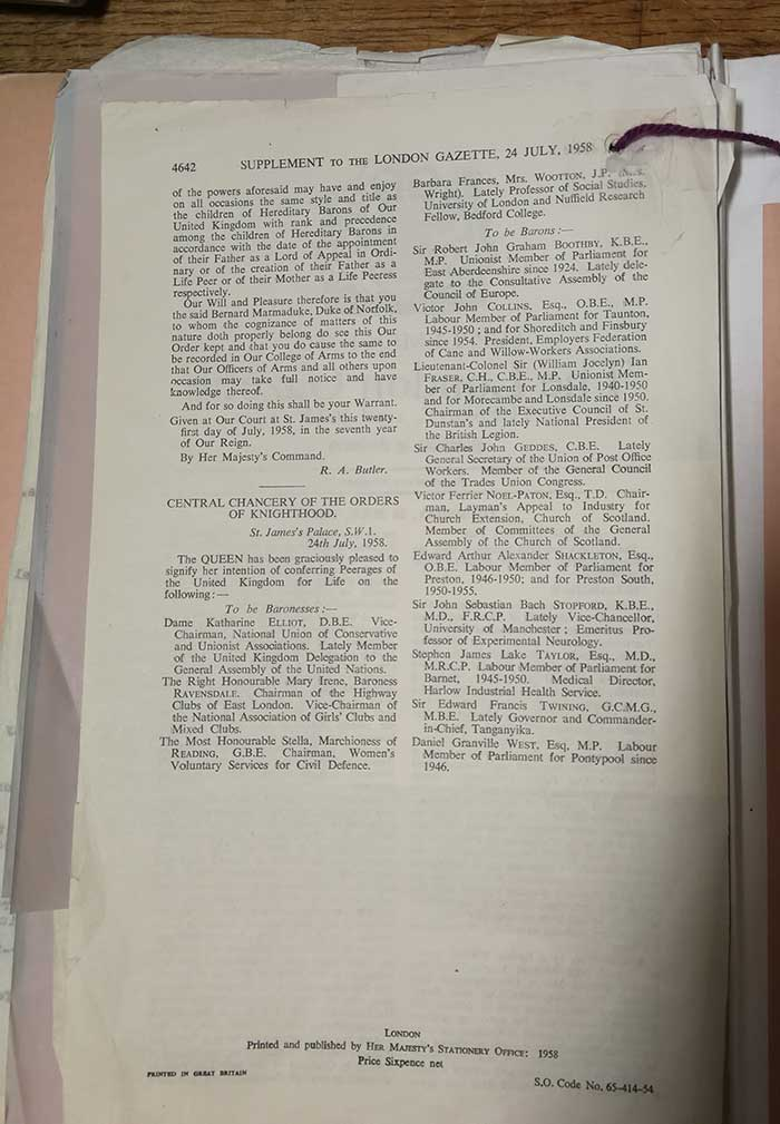 Image of the London Gazette, Catalogue ref: T 352/30