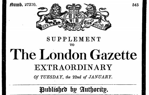 The front cover of The London Gazette