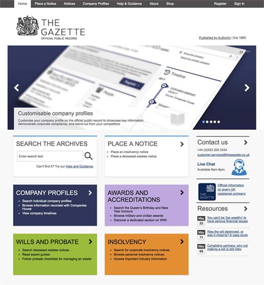 Screenshot of The Gazette website homepage in 2018