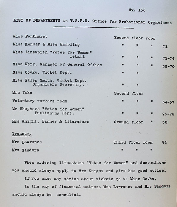 Exhibit 156, listing departments in the WSPU headquarters. Reference: DPP 1/23