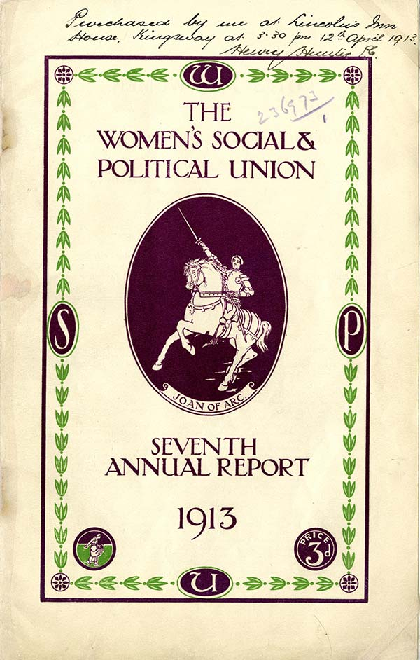 A copy of the Seventh Annual report of the WSPU, annotated that it was purchased by a police officer at Lincoln's Inn House, at 15:30 on 12 April 1913. Reference: HO 45/10700/236973.
