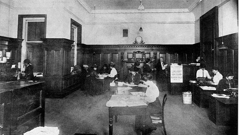 The general office at the WSPU headquarters, Lincoln's Inn House, Kingsway. As seen in the Illustrated London News. Reference: ZPER 34/142.