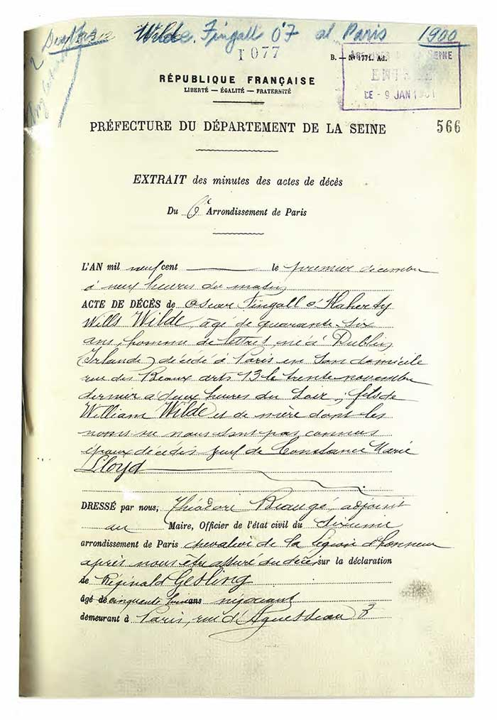 Wilde's death certificate. Catalogue reference RG 35/35 f. 566