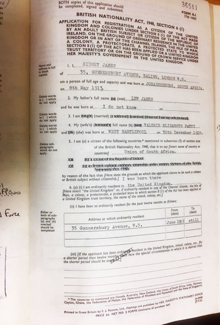 HO 334/874/36511 - registration of British citizenship of Sidney James, 1961.
