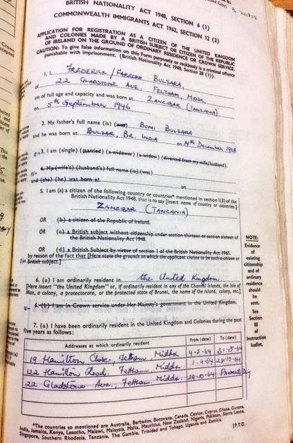 HO 334/1421/117889 - registration of British citizenship of Frederick Bulsara (aka Freddie Mercury), 1969.