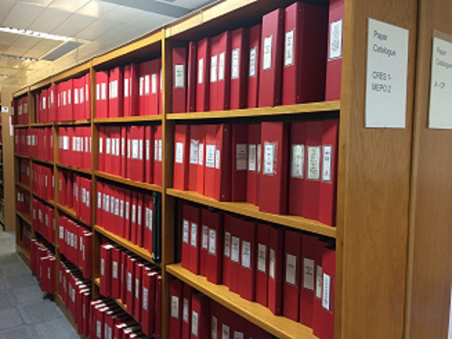 Image of paper catalogue shelving