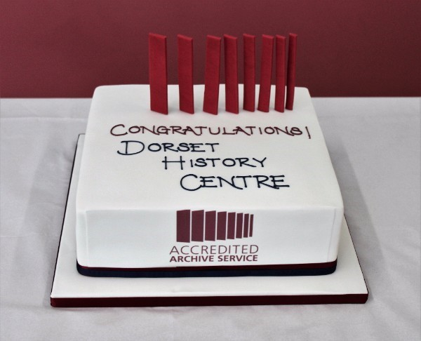 A photo of an Archives Accreditation cake