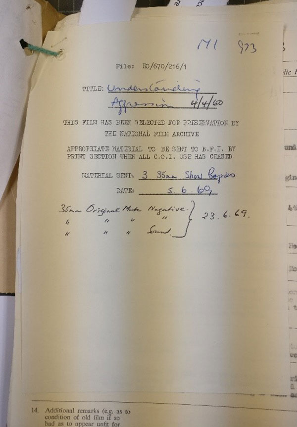 Prints and – crucially – the original negatives of 'Understanding Aggression' entered the BFI, via the Public Record Office (now The National Archives), nine years after production. (Presumably after it had stopped being used as an NHS training tool). Catalogue reference INF 6/2051