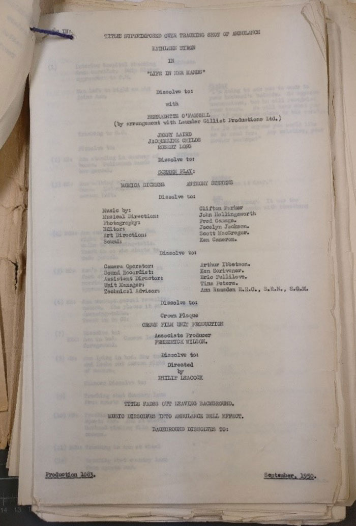 Front page of script for 'Life in Her Hands'. Catalogue reference INF 6/1938