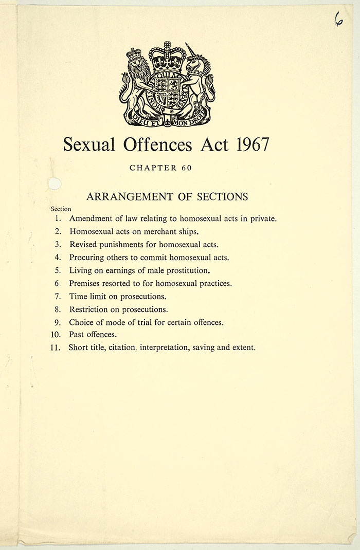 Amendments to the law relating to homosexual offences Catalogue Reference: HO 291/130