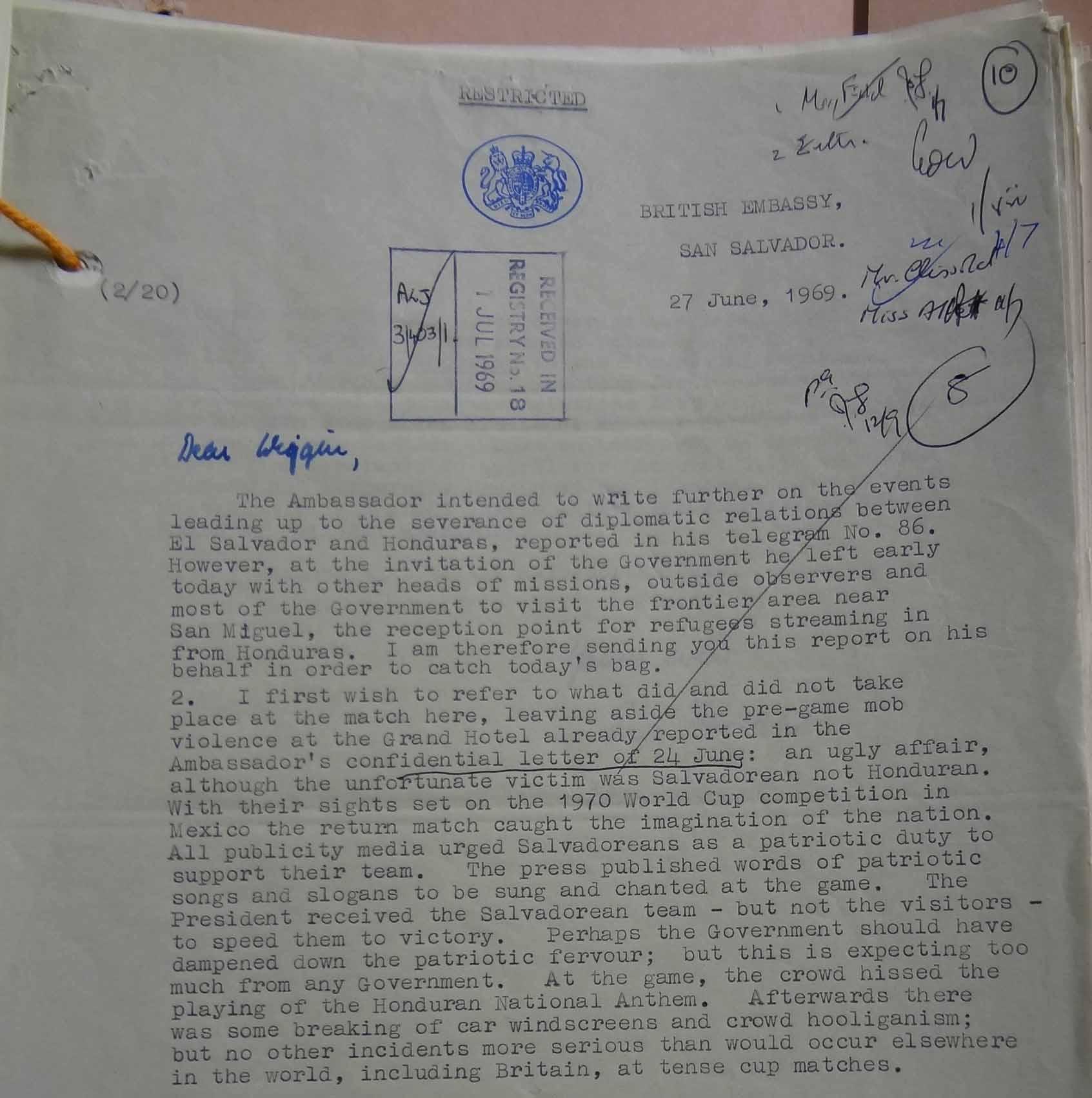 Farrar to Wiggin, 27 June 1969 (catalogue reference: FCO 7/1210)