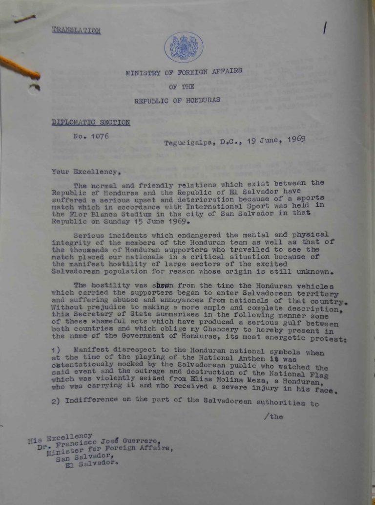 Tiburcio Carias Castillo to Francisco José Guerrero, 19 June 1969 (catalogue reference: FCO 7/1210)