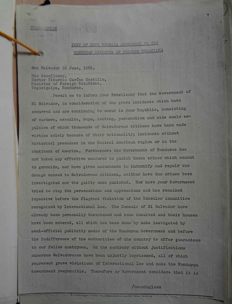 Note verbale addressed to the Honduran Minister of Foreign Relations [translation], 26 June 1969 (catalogue reference: FCO 7/1210)