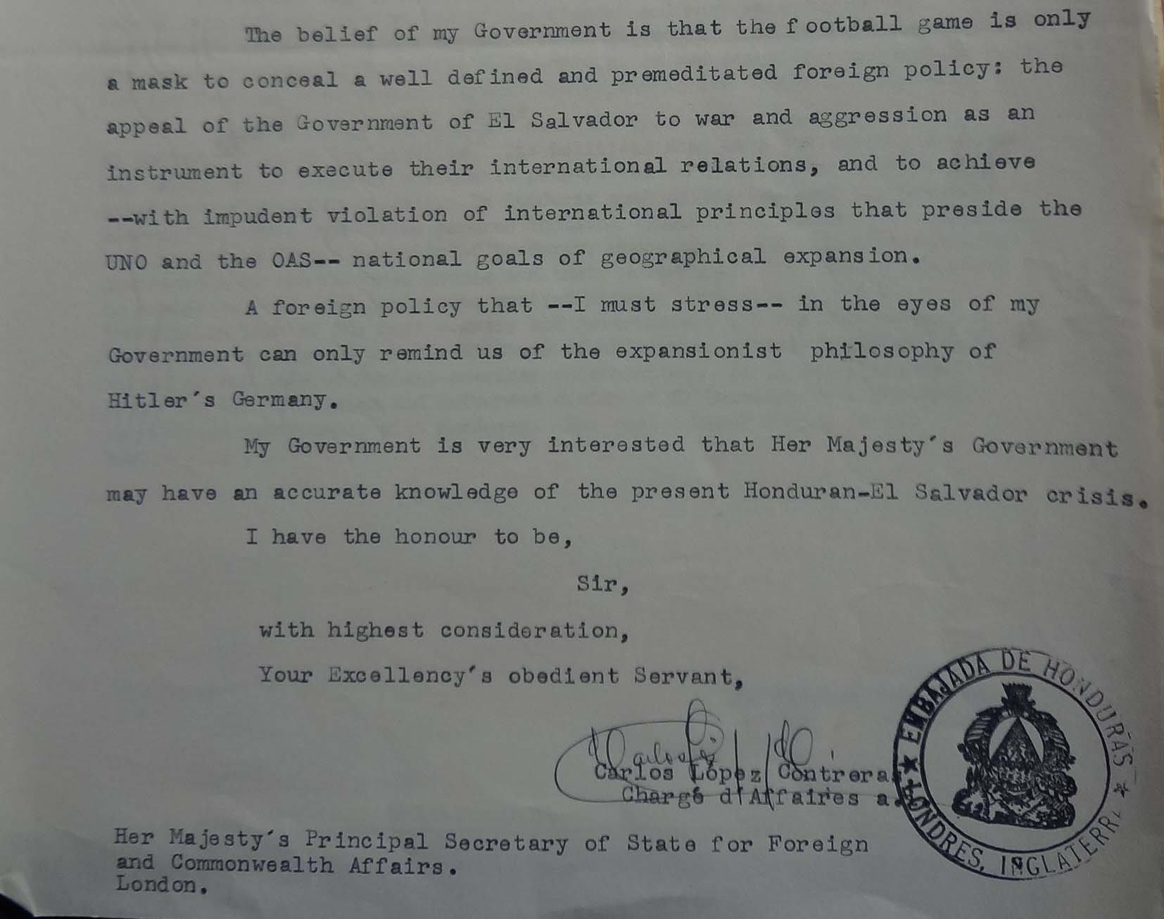 Letter from the Honduran Chargé d'Affaires to the FCO, 4 July 1969 (catalogue reference: FCO 7/1210)
