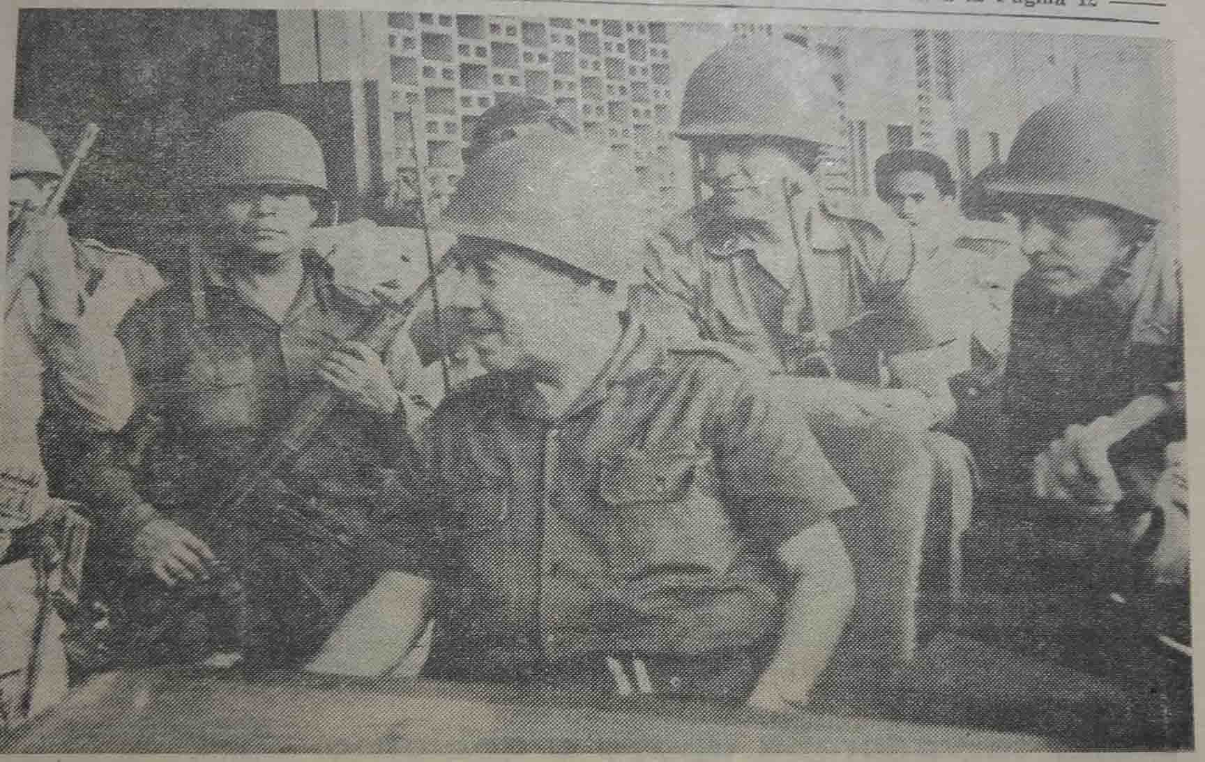 The Salvadoran President inspecting the troops in Nueva Octopeque, captured by the Salvadoran army, july 1969 (catalogue reference: FCO 7/1211)